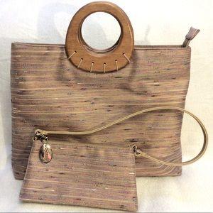 Vintage Cabrelli wooden handle bag with purse